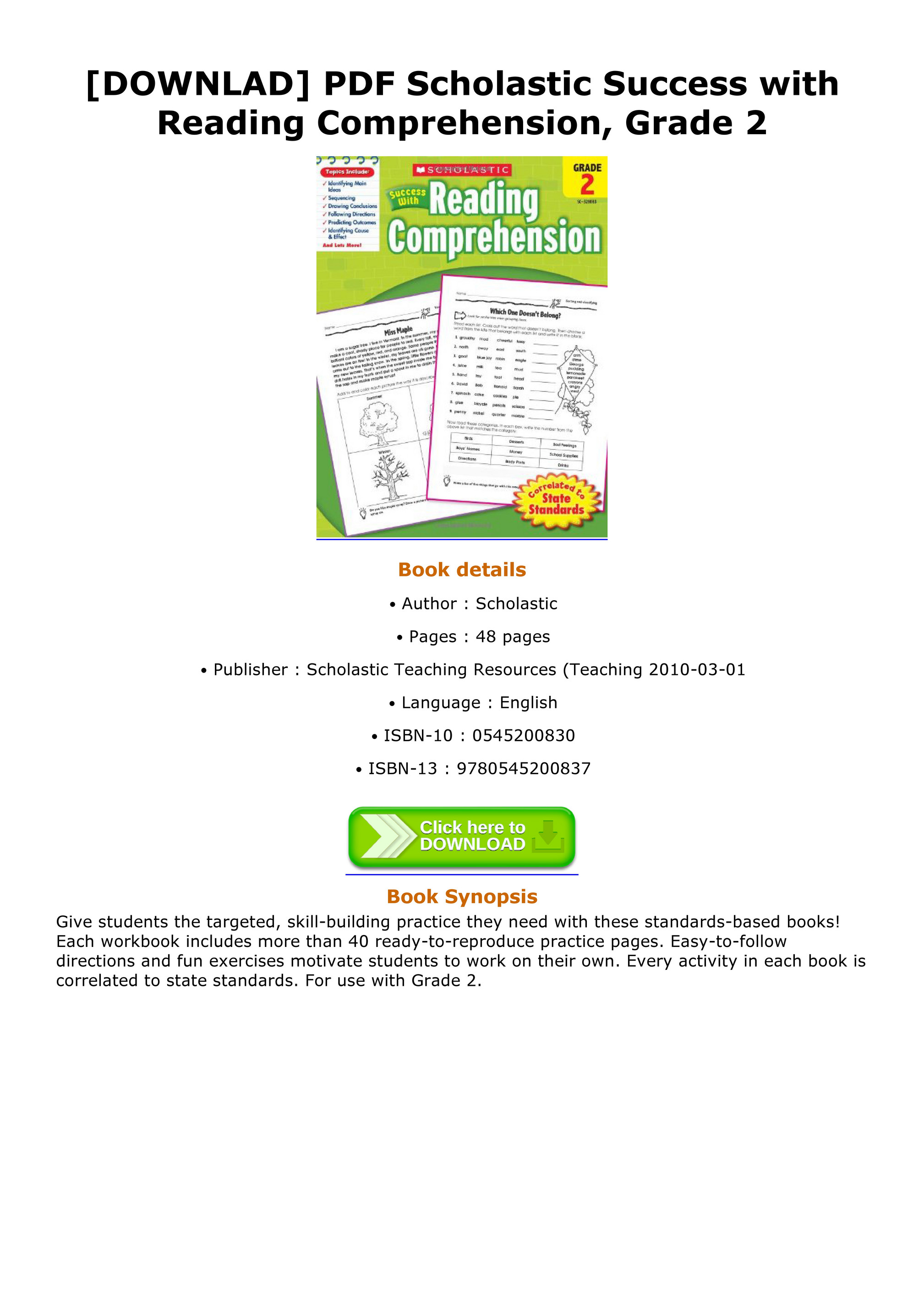Reading Comprehension Book For Grade 2 Pdf