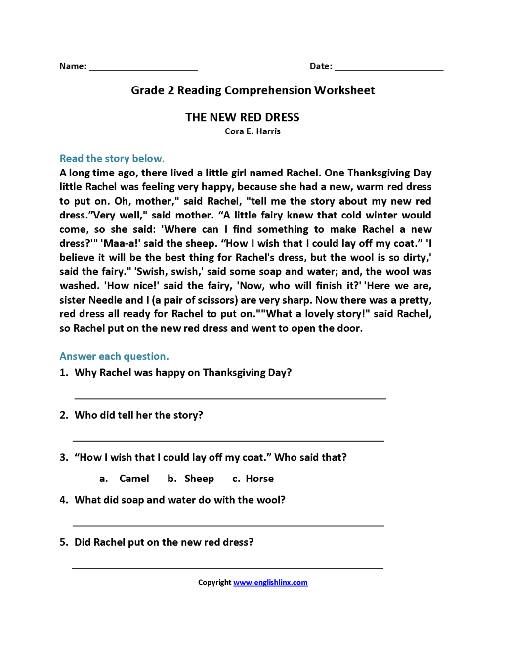 Reading Comprehension Grade 2 Pdf Free Download