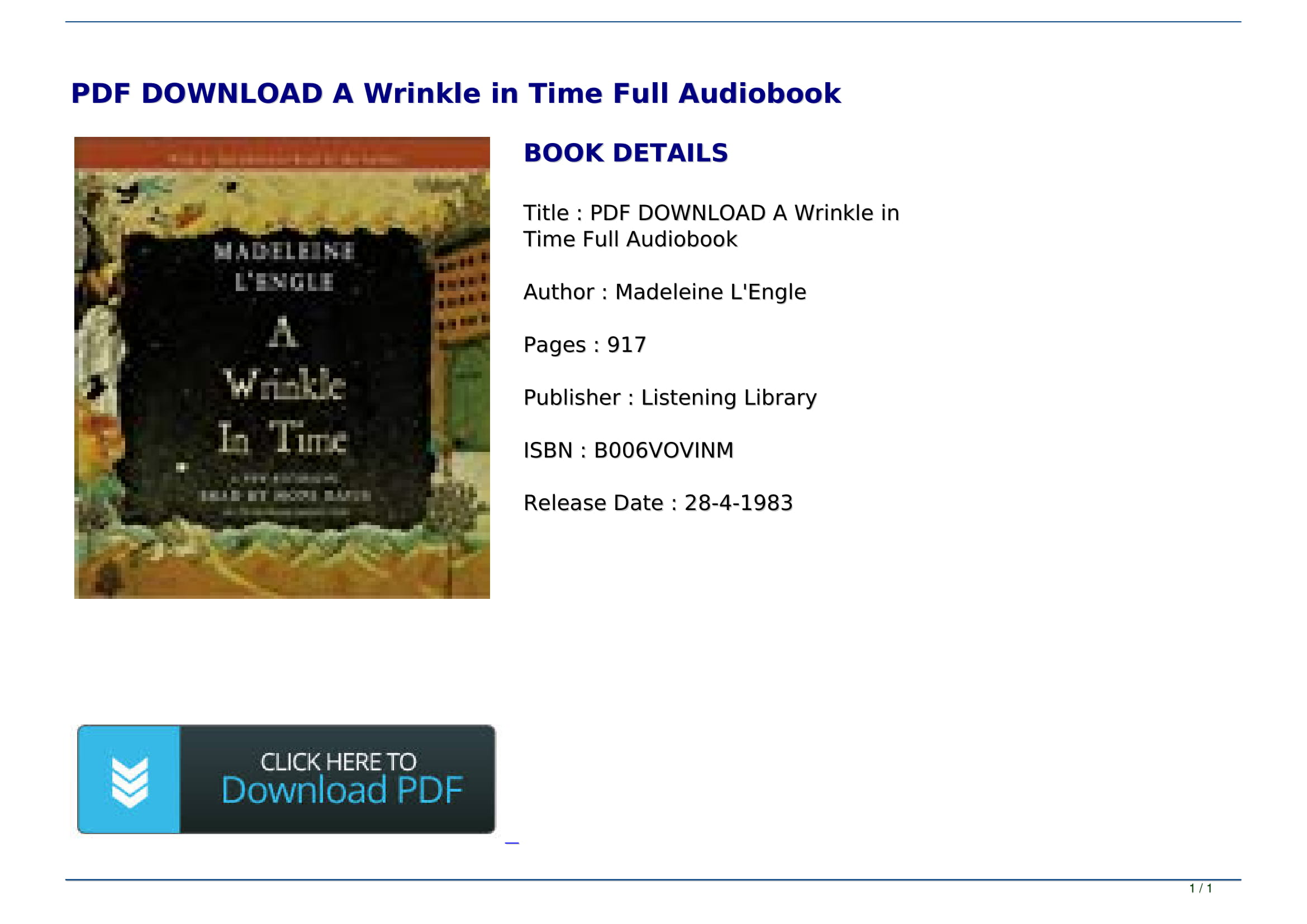 A Wrinkle In Time Free Ebook Pdf