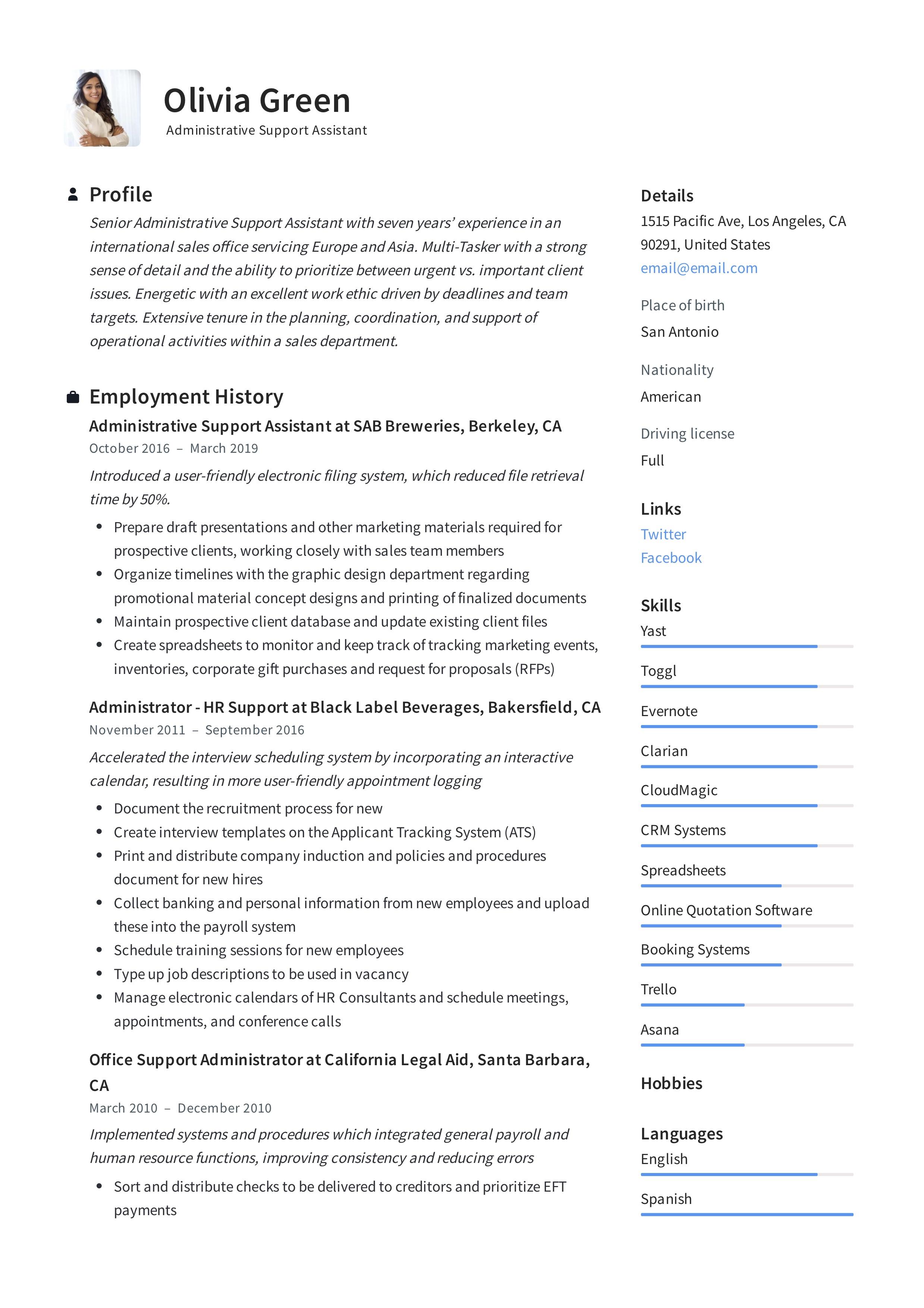 Administrative Assistant Resume Pdf