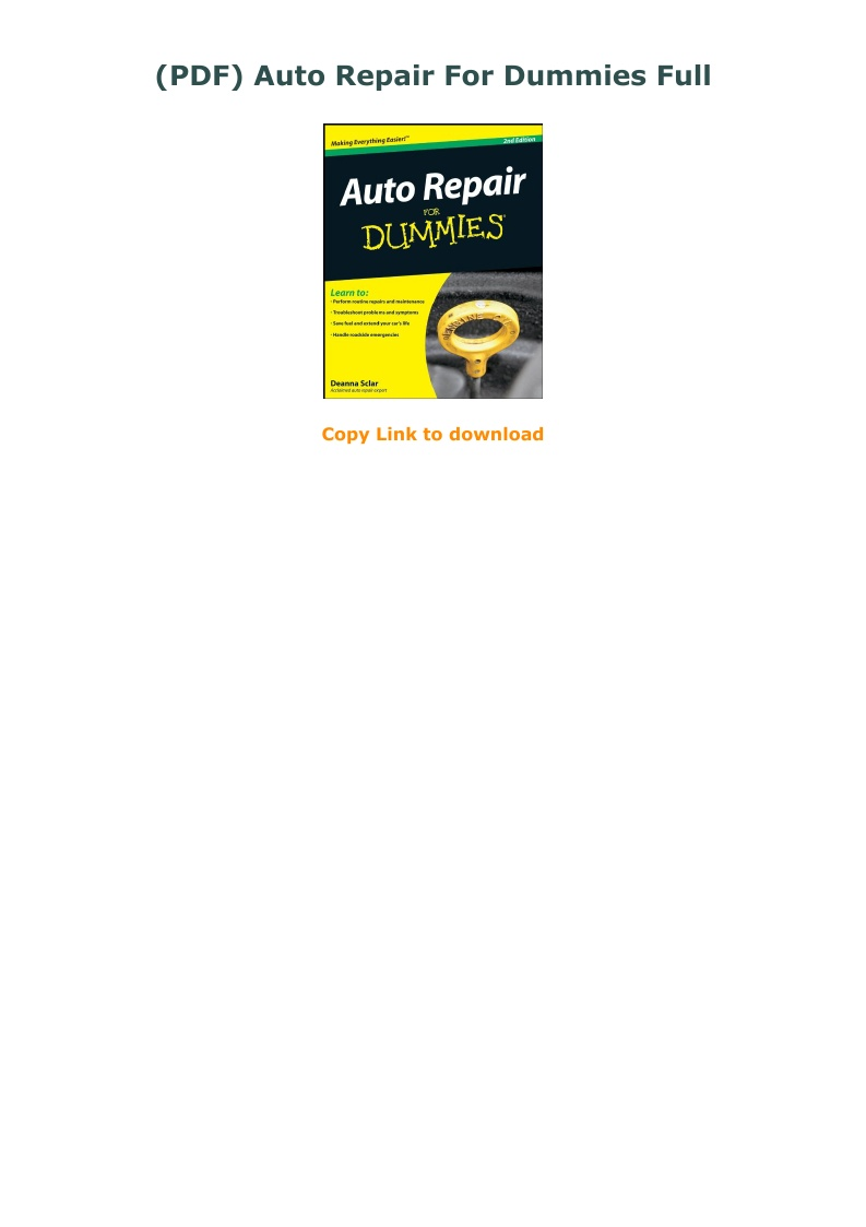 Auto Repair For Dummies Pdf
