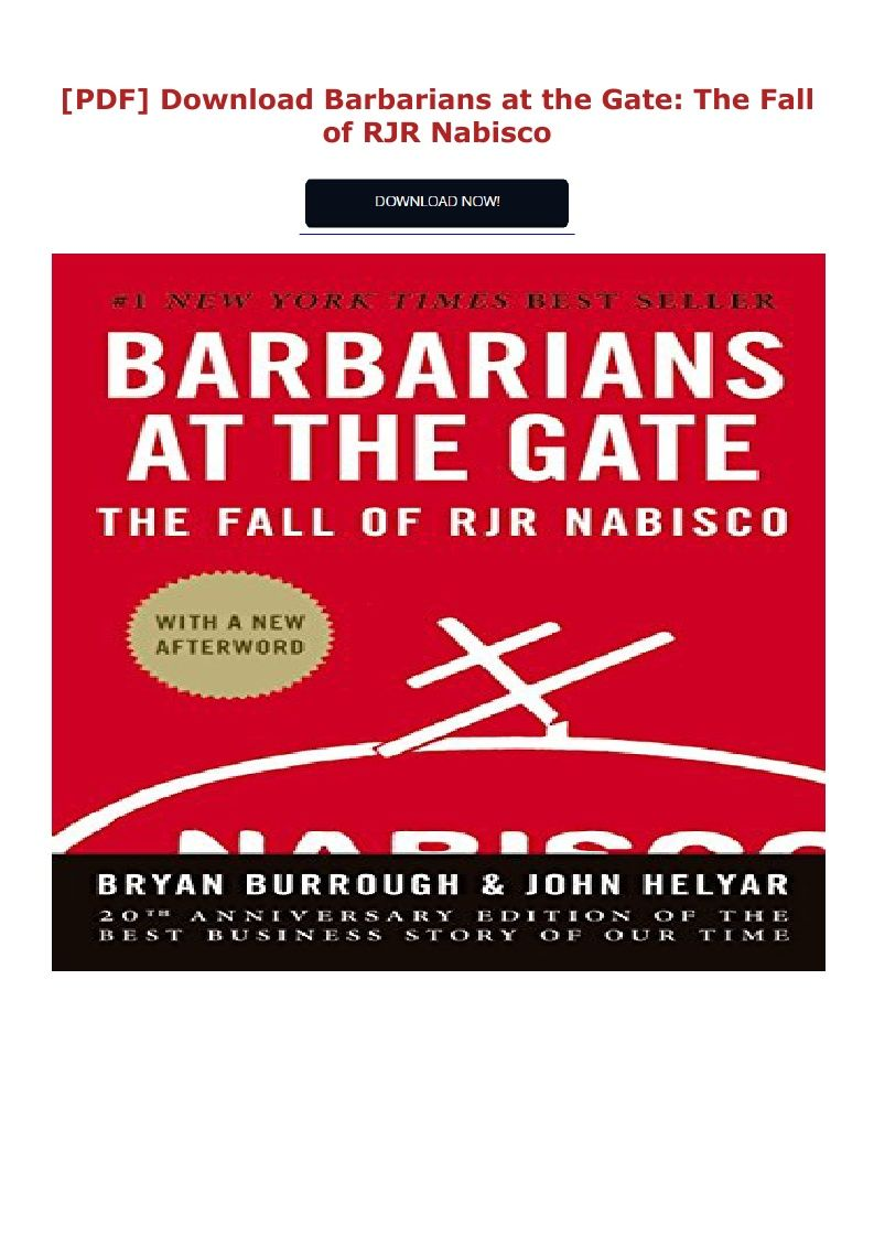 Barbarians At The Gate Pdf Free Download