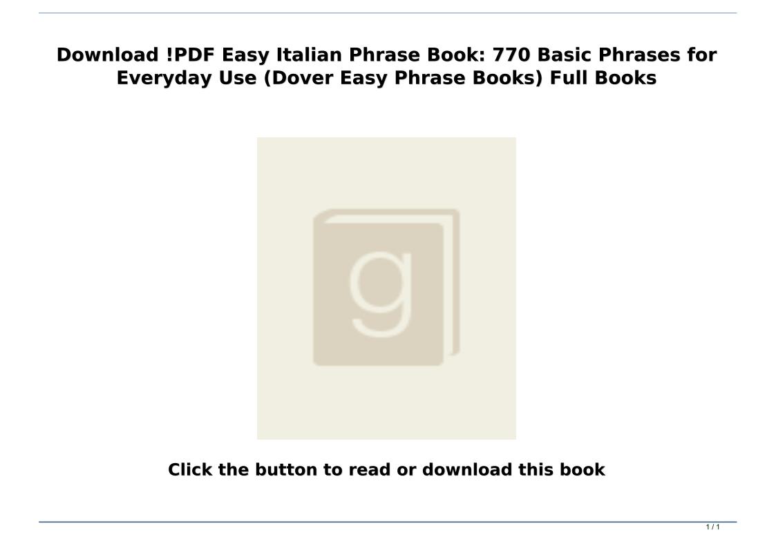 Basic Italian Phrases Pdf