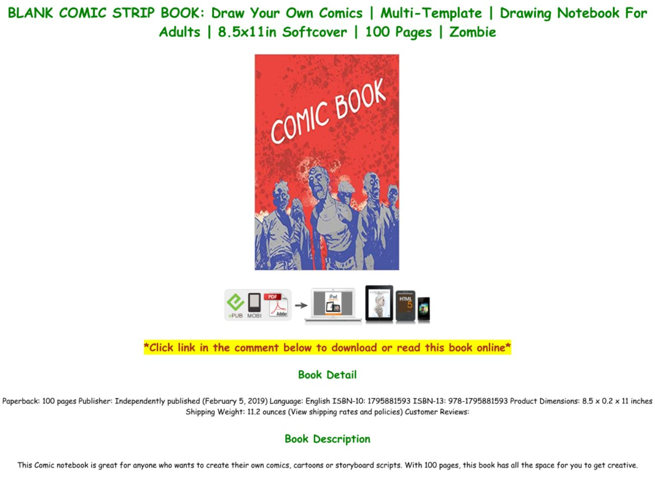 Blank Comic Book Template Pdf