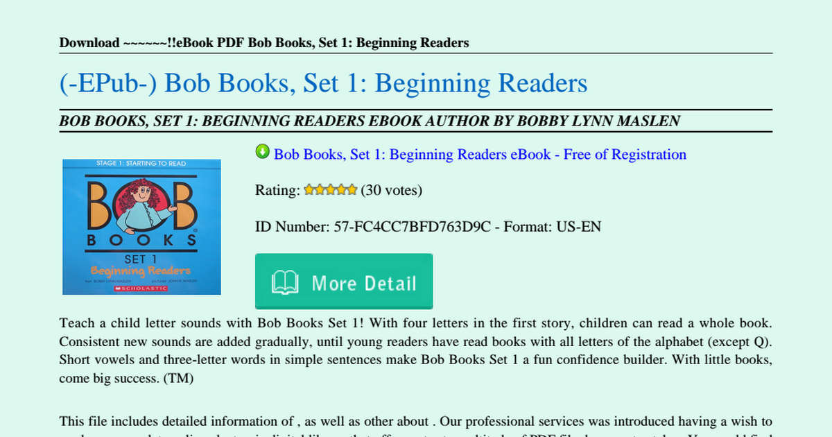 Bob Books Set 1 Pdf