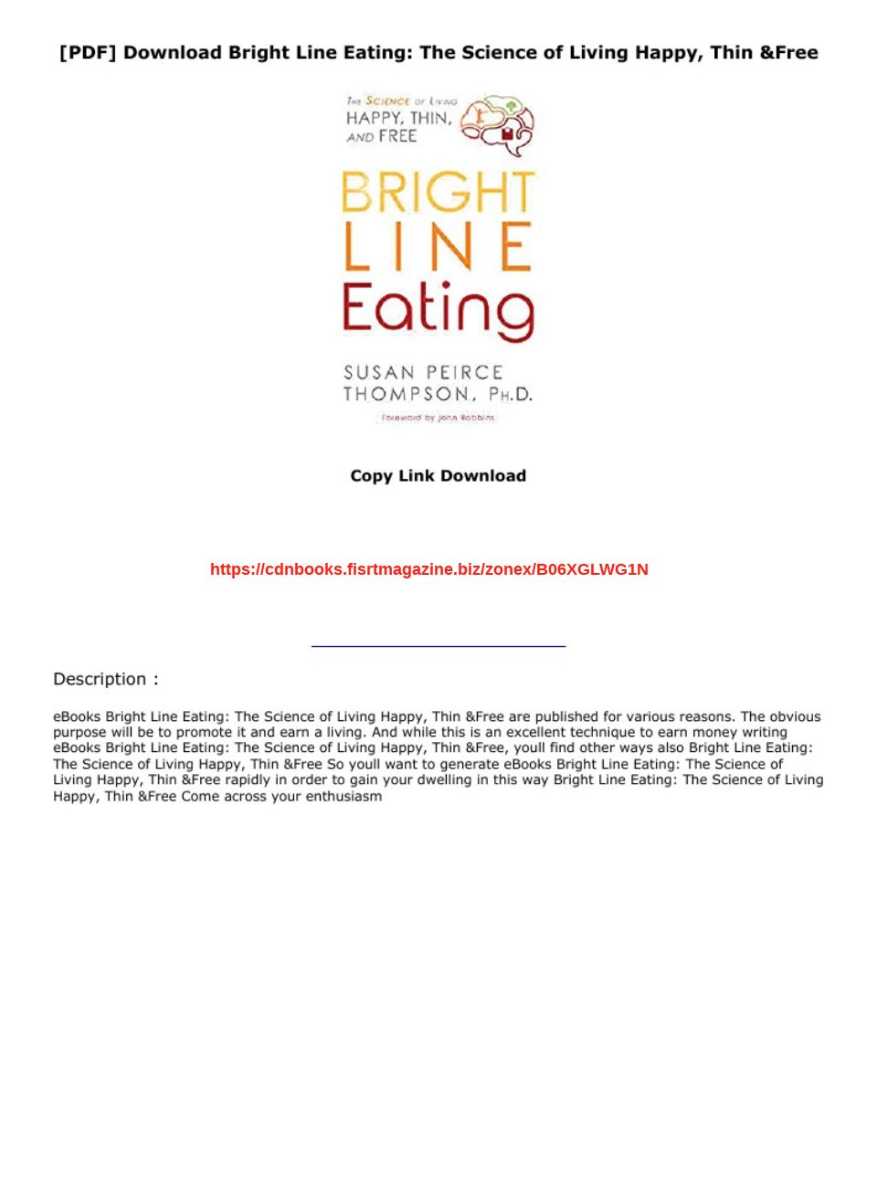 Bright Line Eating Pdf Download
