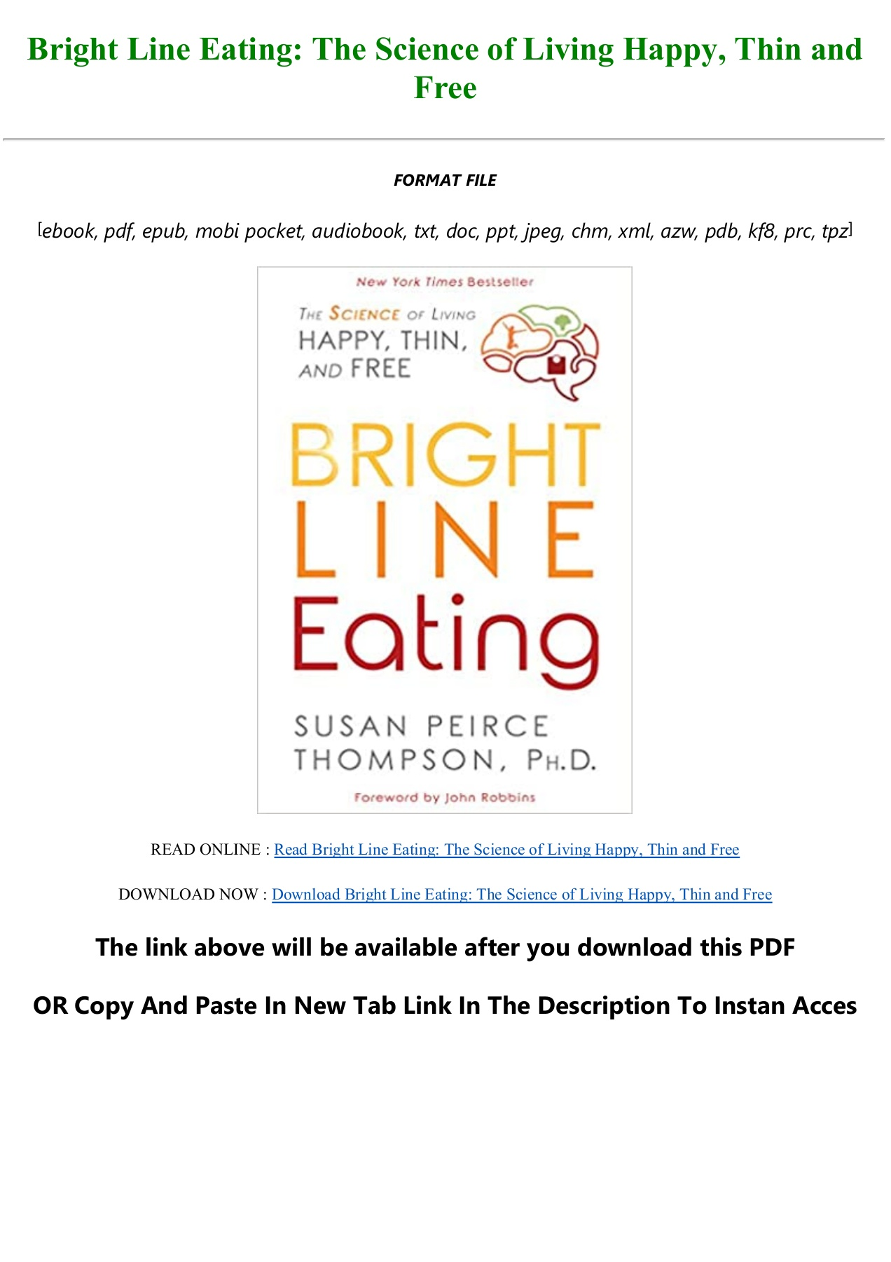 Bright Line Eating Pdf