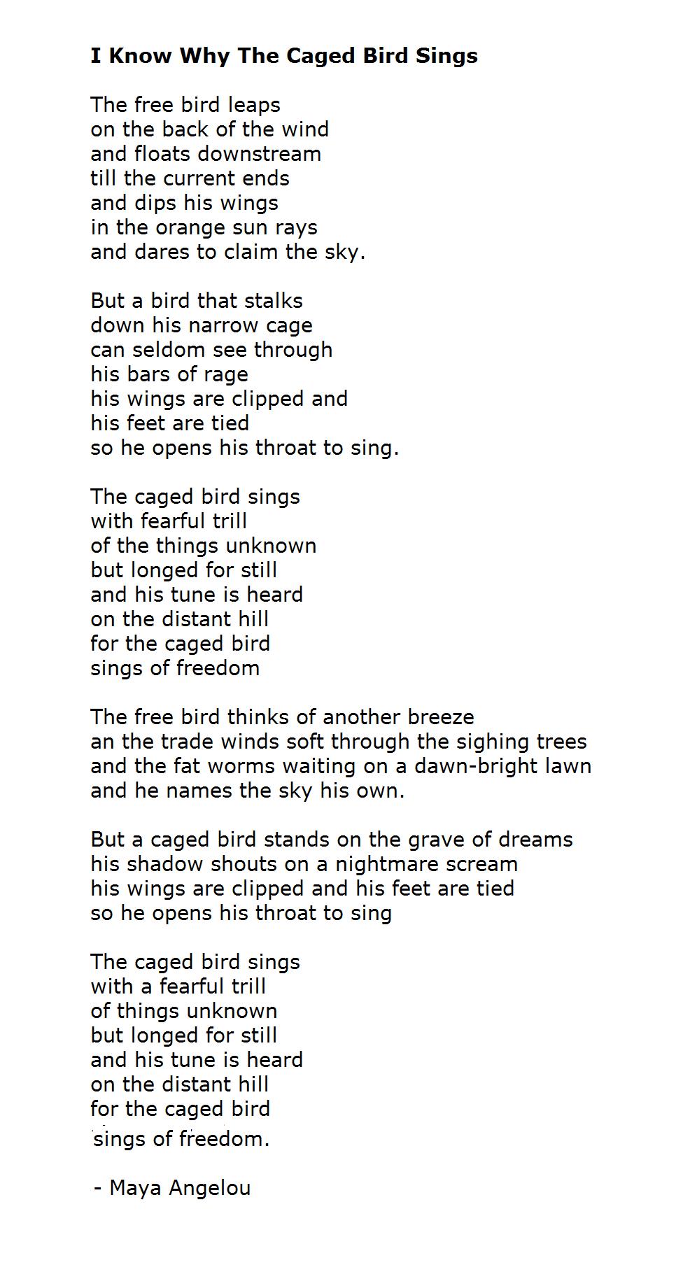Caged Bird Maya Angelou Poems Pdf
