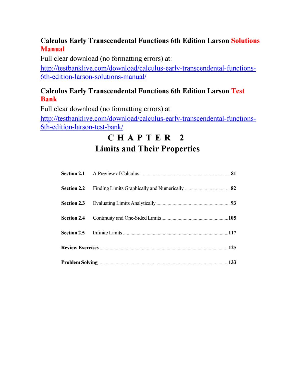Calculus Early Transcendental Functions 6th Edition Pdf