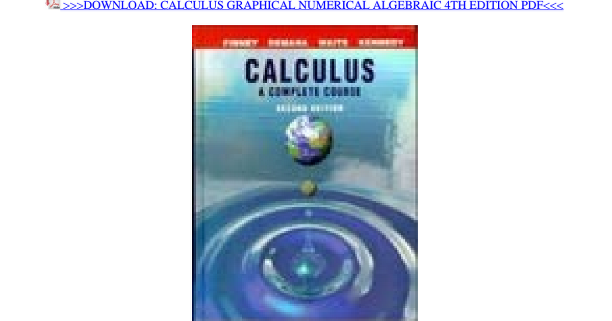 Calculus Graphical Numerical Algebraic 4th Edition Pdf