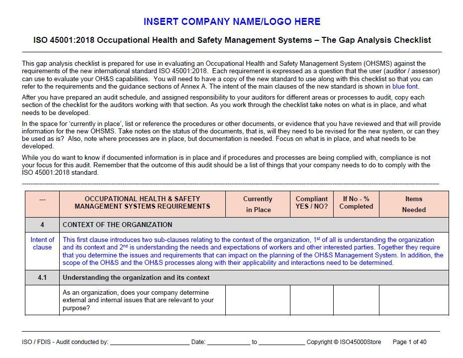 Checklist Iso 45001 Pdf
