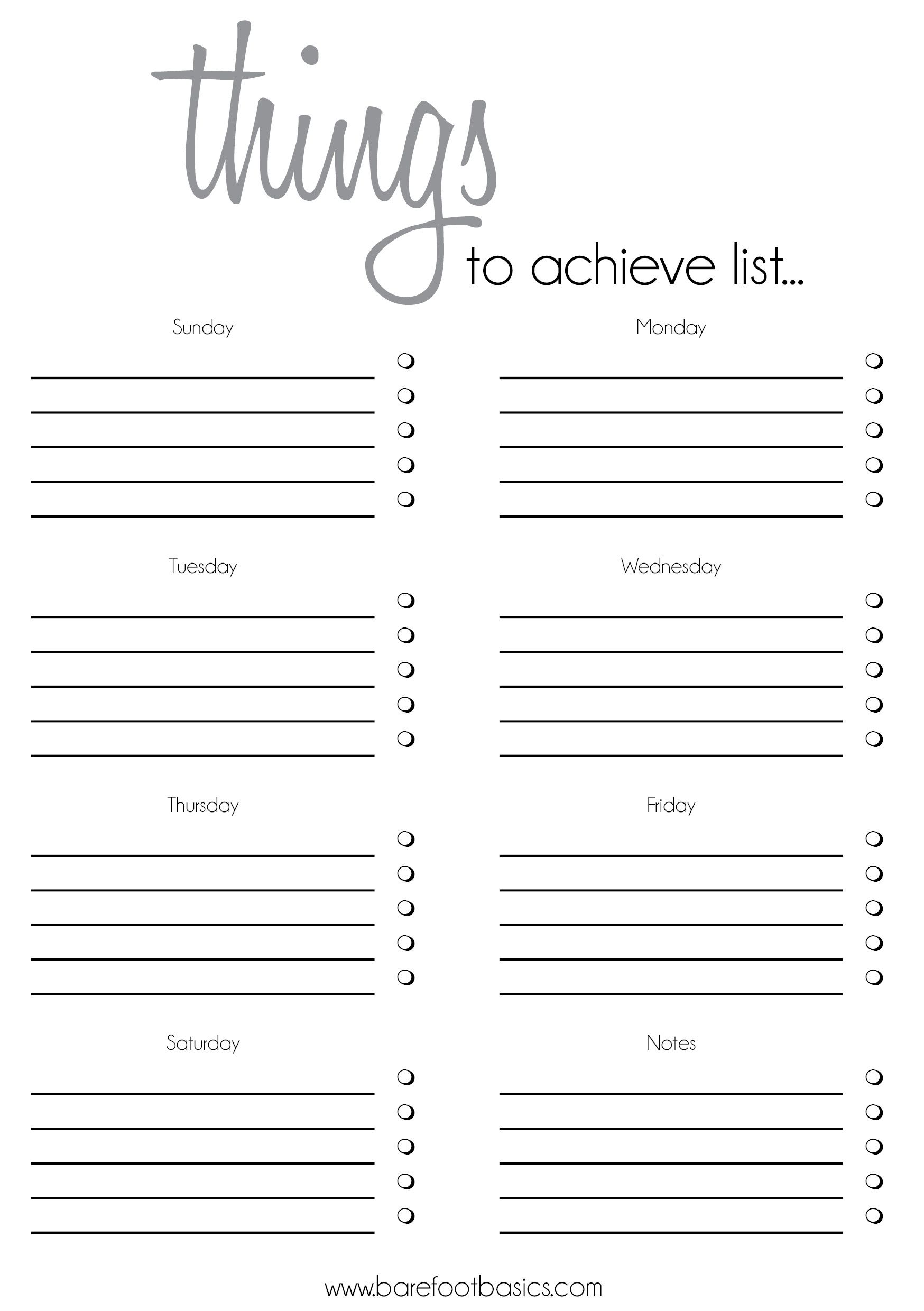 Checklists Free Printable To Do List Pdf