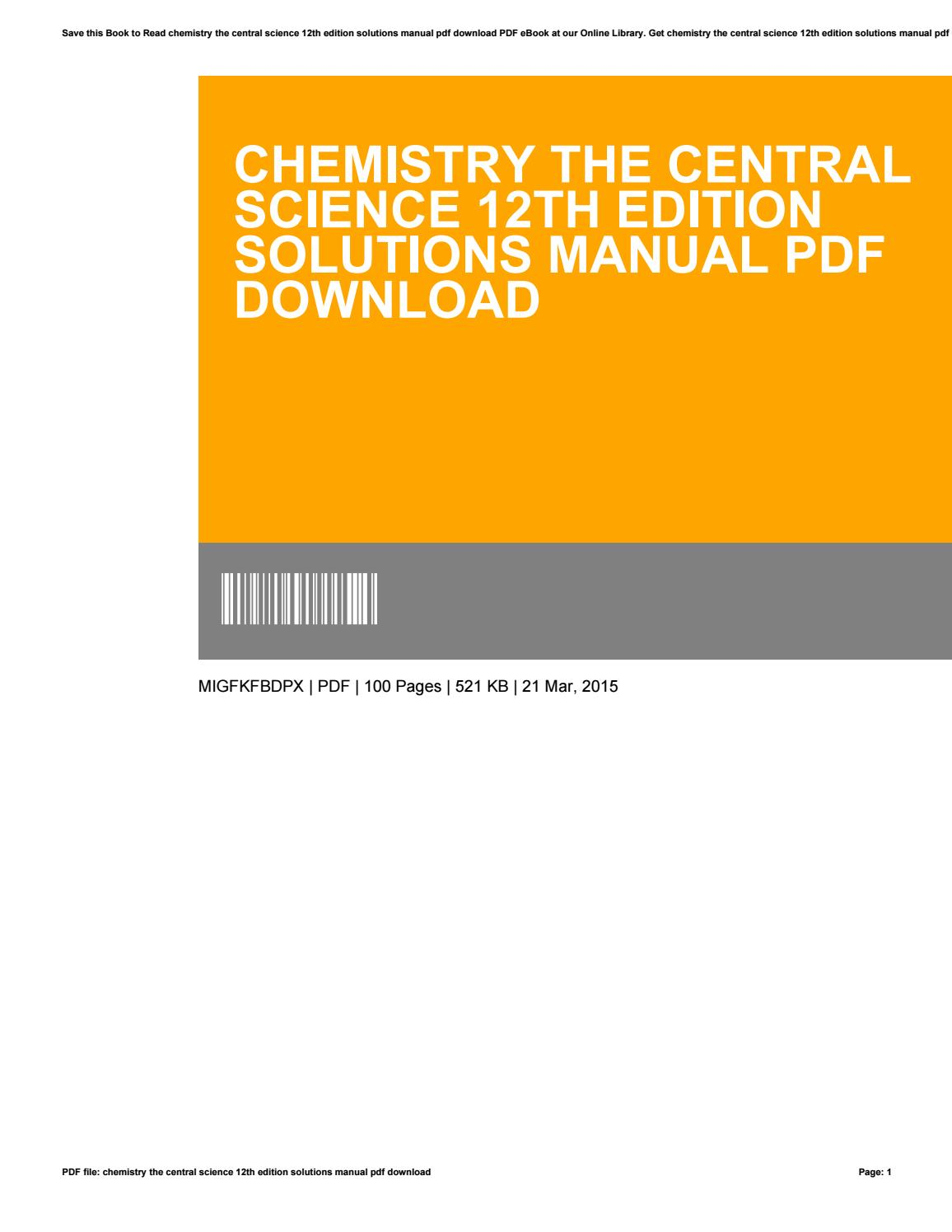 Chemistry The Central Science 12th Edition Pdf