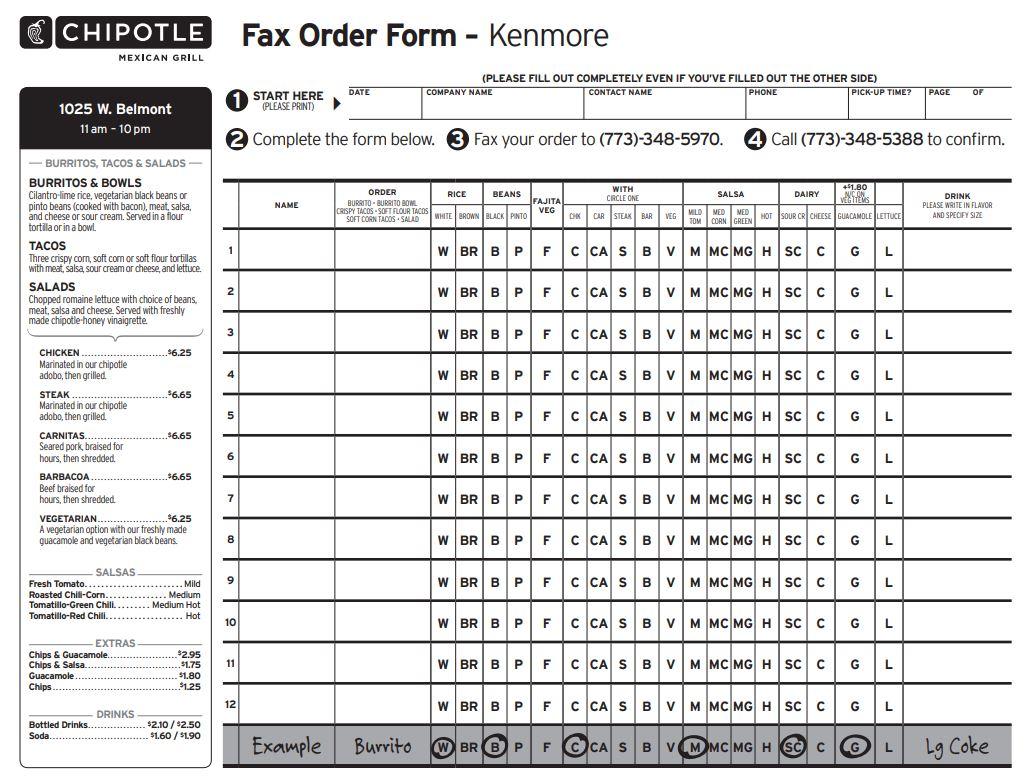 Chipotle Order Form Pdf