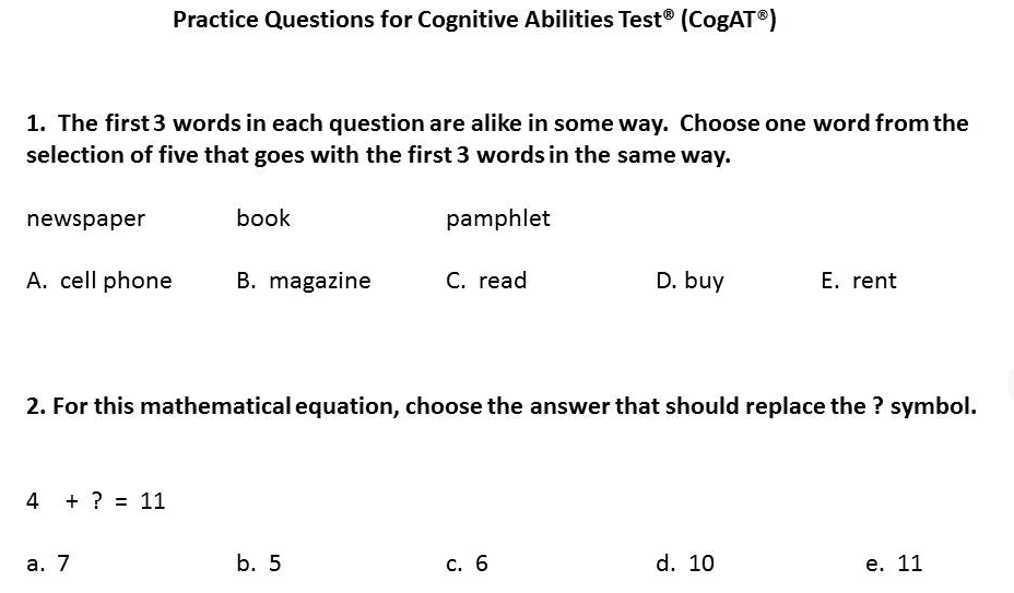 Cogat Sample Test 2nd Grade Pdf