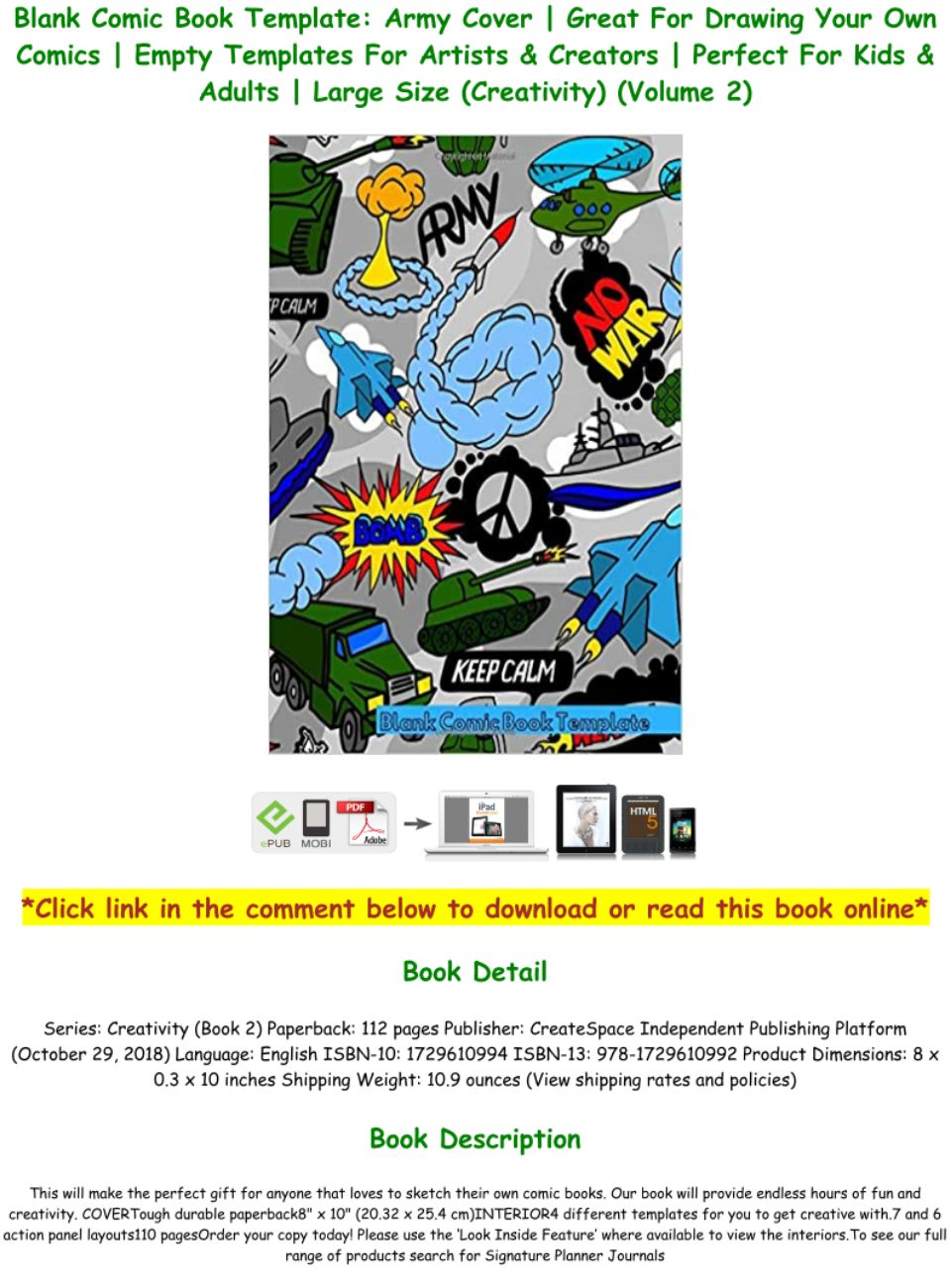 Comic Book Cover Template Pdf
