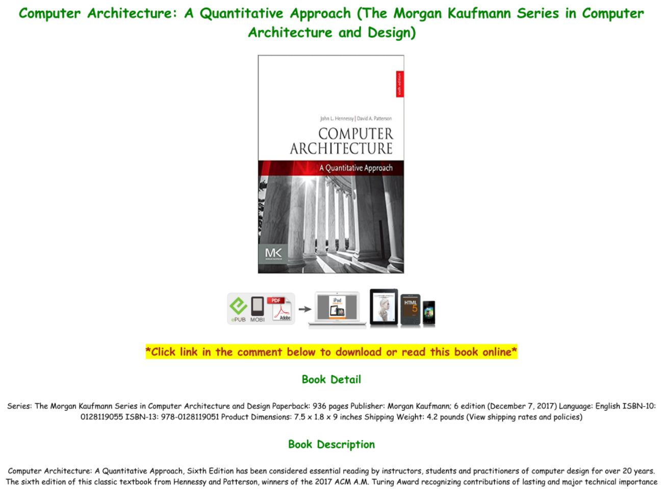 Computer Architecture A Quantitative Approach Pdf Download