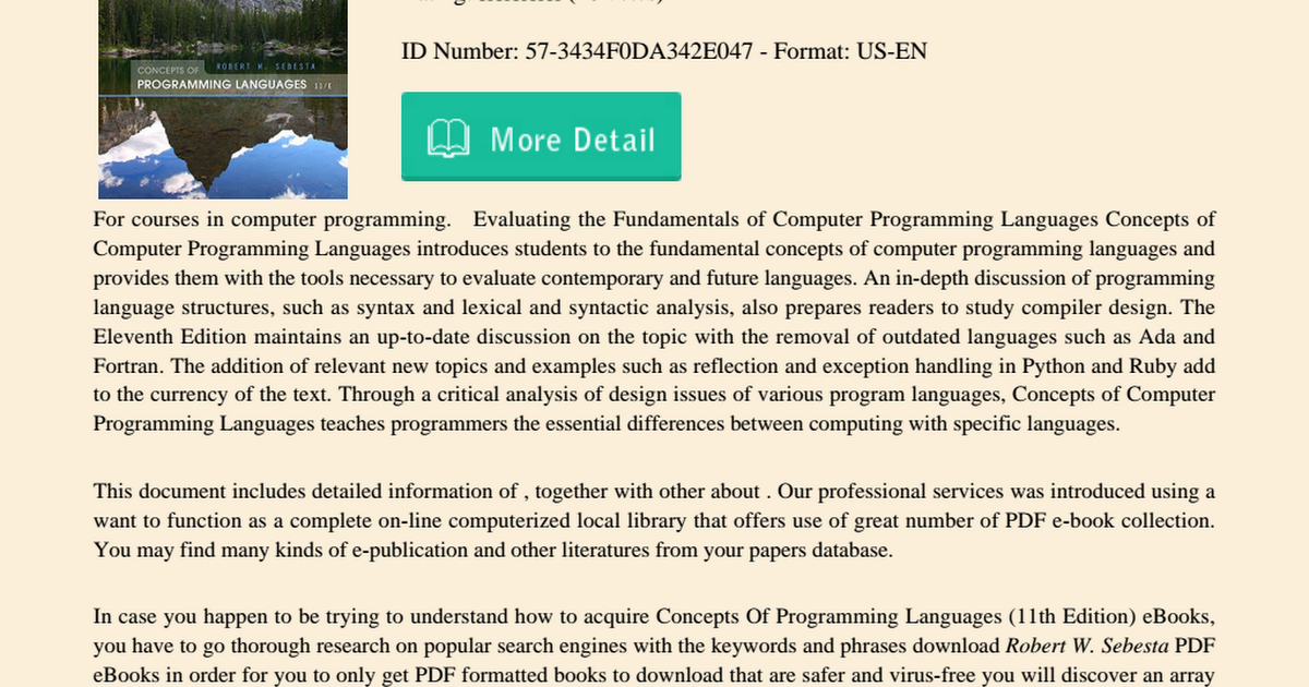 Concepts Of Programming Languages 11th Edition Pdf