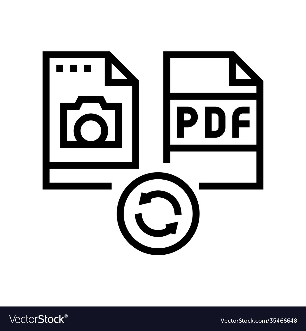 Convert Photo To Pdf File Line Icon Vector Illustration