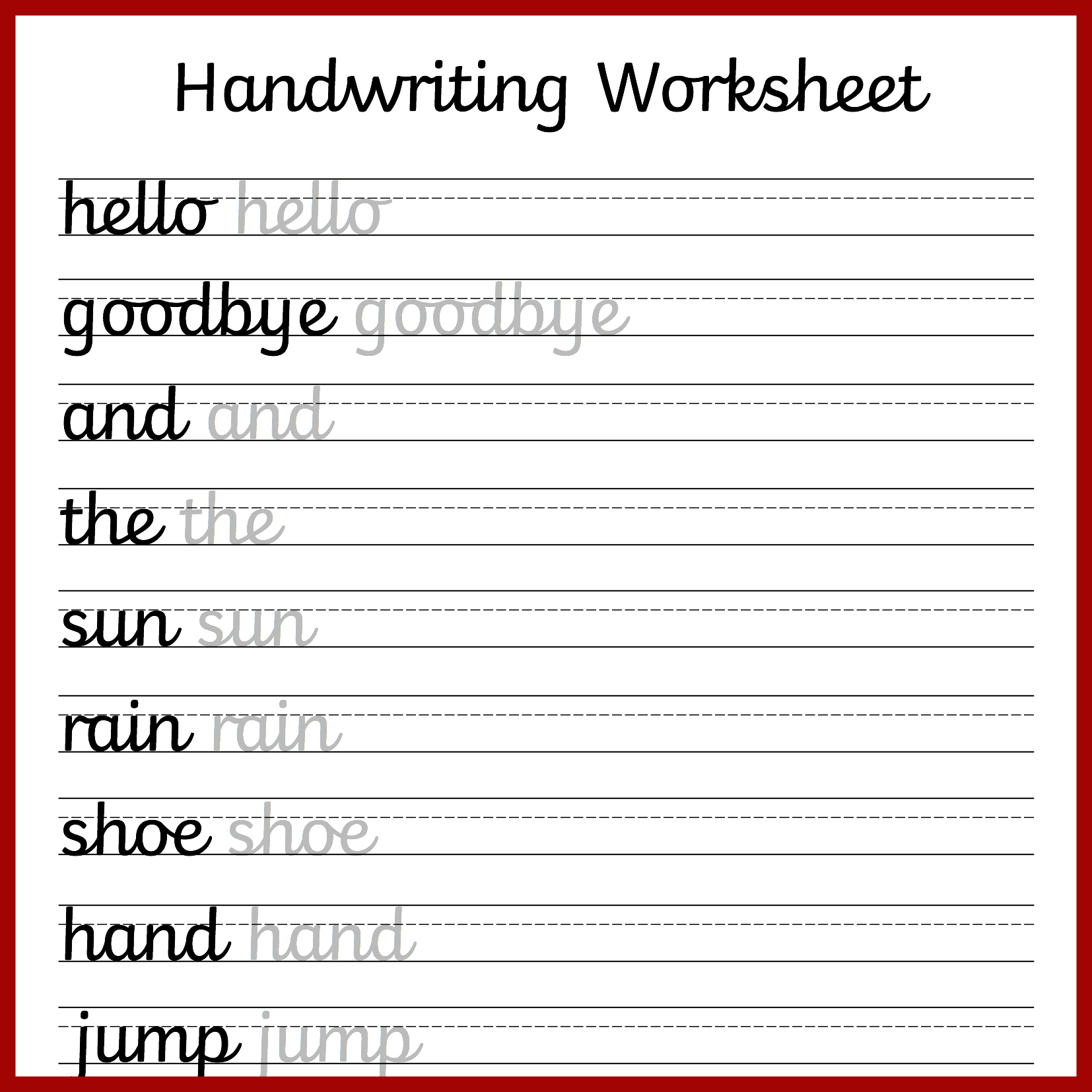 Cursive Handwriting Practice Sheets Pdf