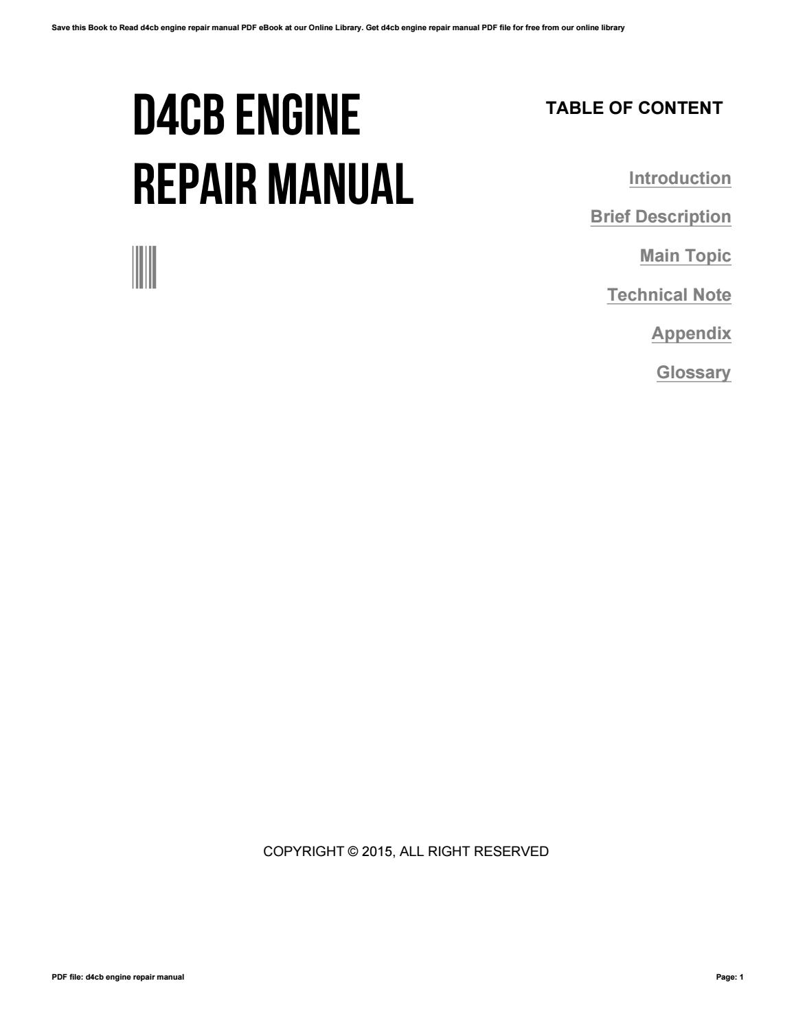 D4cb Engine Repair Manual Pdf