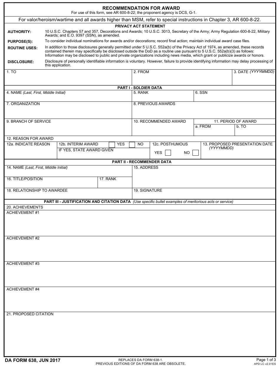 Da Form 638 Pdf Download