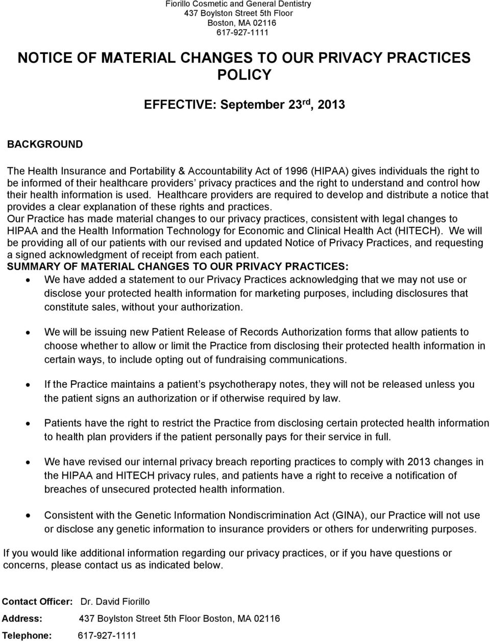 Dental Office Hipaa Notice Of Privacy Practices Pdf 2020 Template