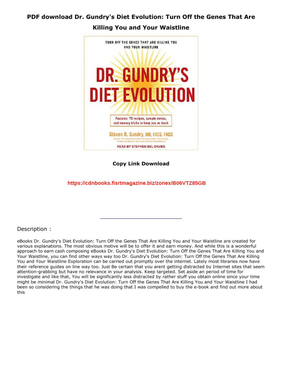 Dr Gundry Diet Evolution Pdf Download