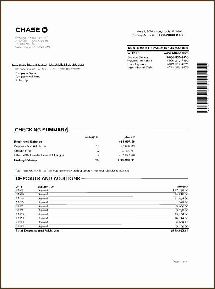 Editable Chase Bank Statement Pdf