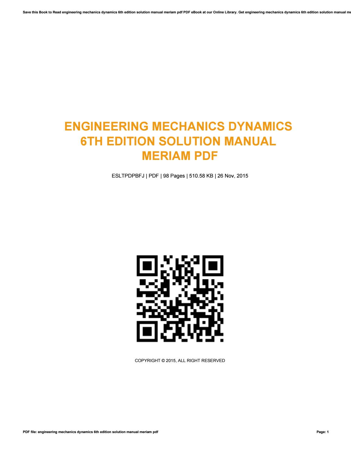 Engineering Mechanics Dynamics Meriam Pdf
