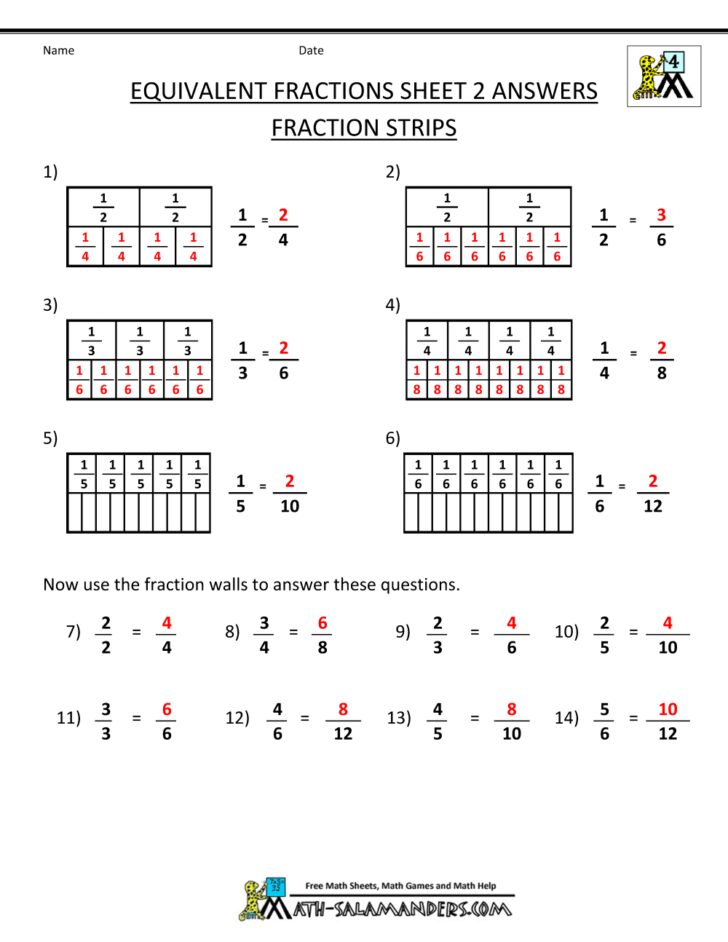 Equivalent 4th Grade Fractions Worksheets Grade 4 Pdf