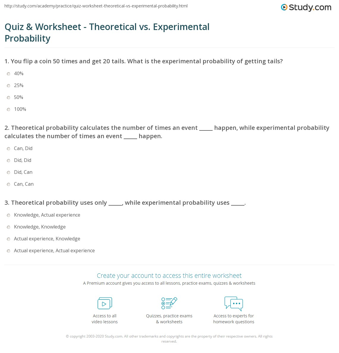 Experimental Probability Probability Worksheets With Answers Pdf