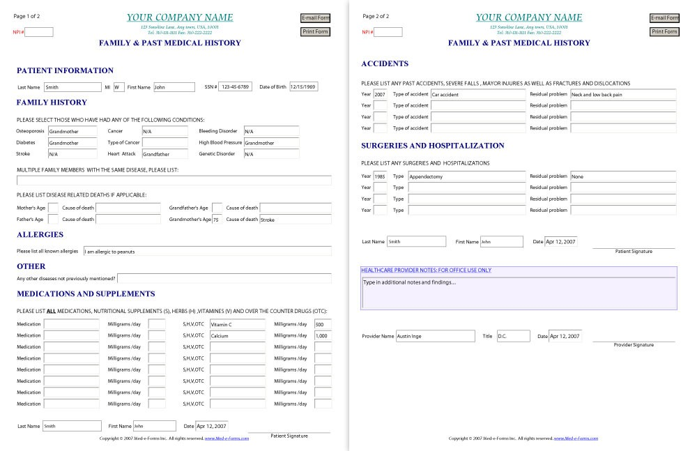 Family Medical History Form Pdf