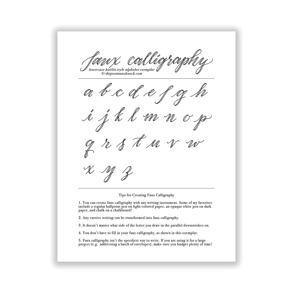 Faux Calligraphy Worksheets Pdf Free