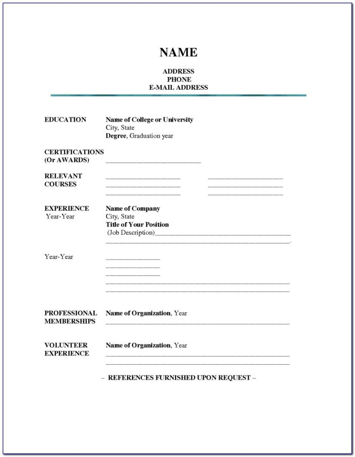 Fillable Blank Resume Template Pdf
