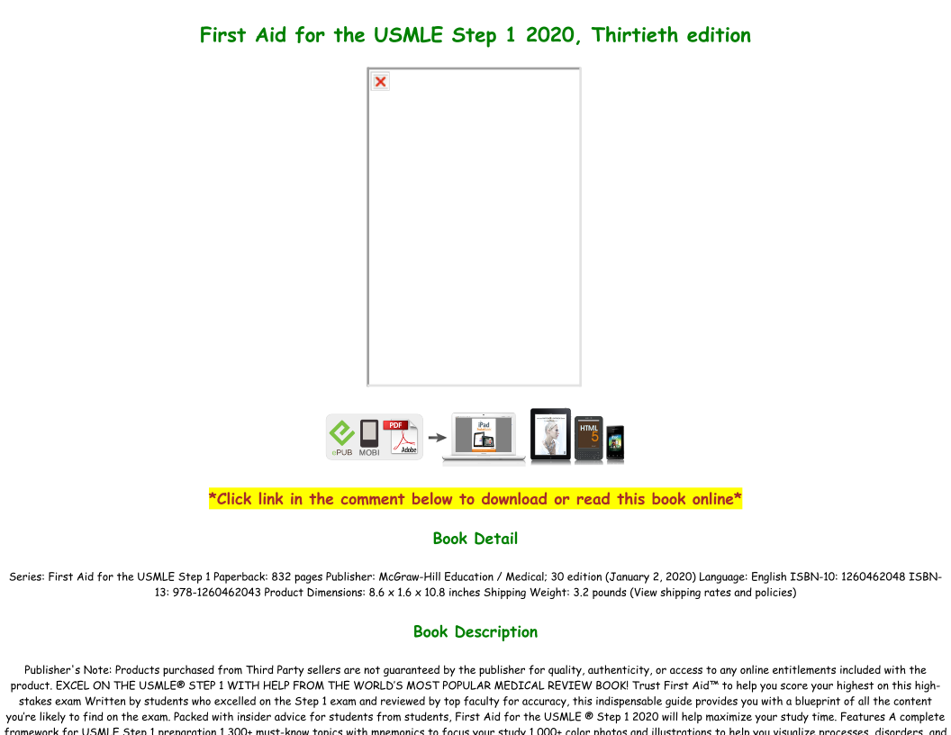 First Aid Usmle Step 1 2020 Pdf Download