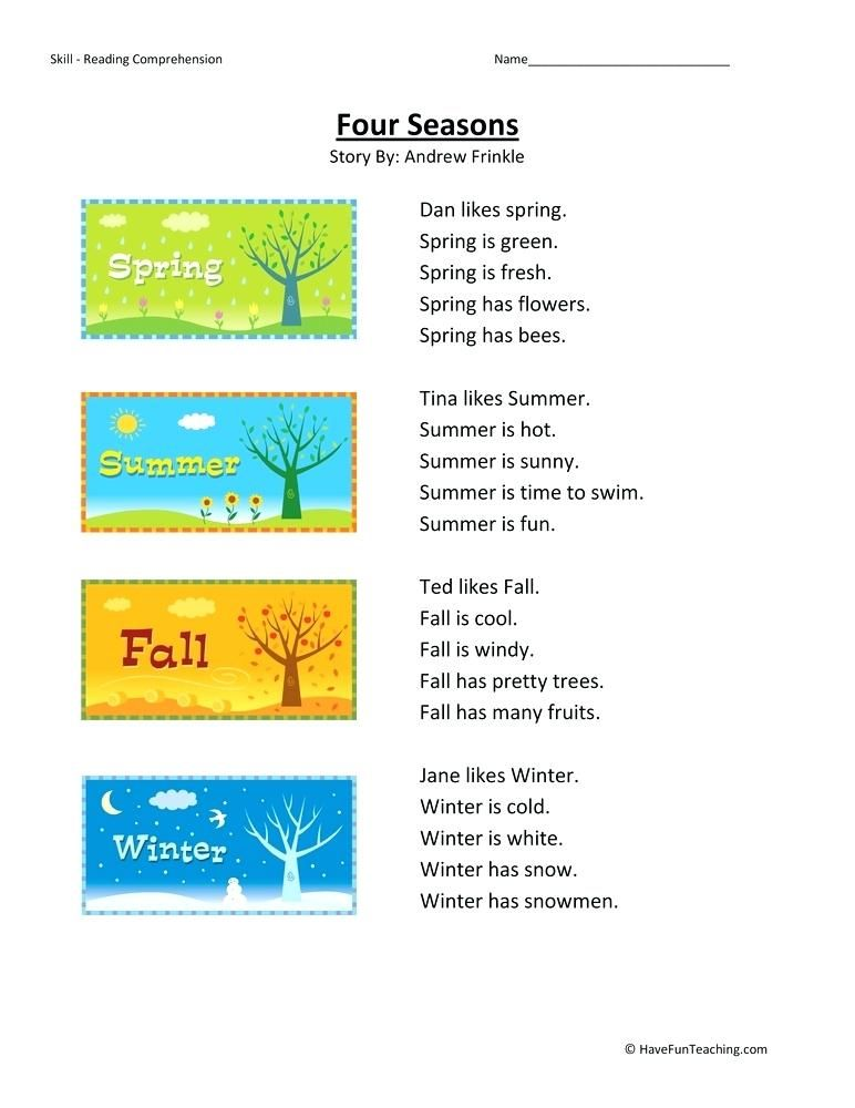 First Grade Reading Comprehension For Grade 1 Pdf