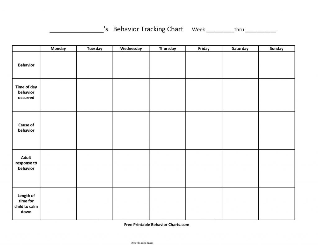 Free Behavior Tracking Sheet Pdf