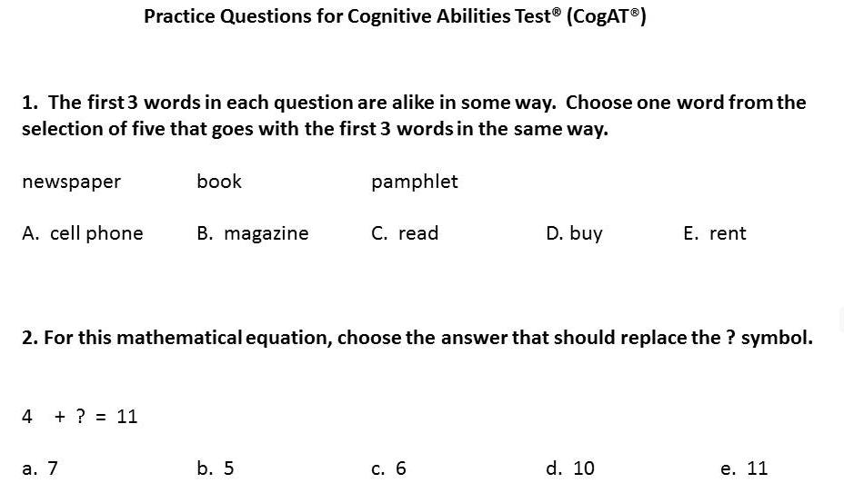 Free Cogat 5th Grade Practice Test Pdf
