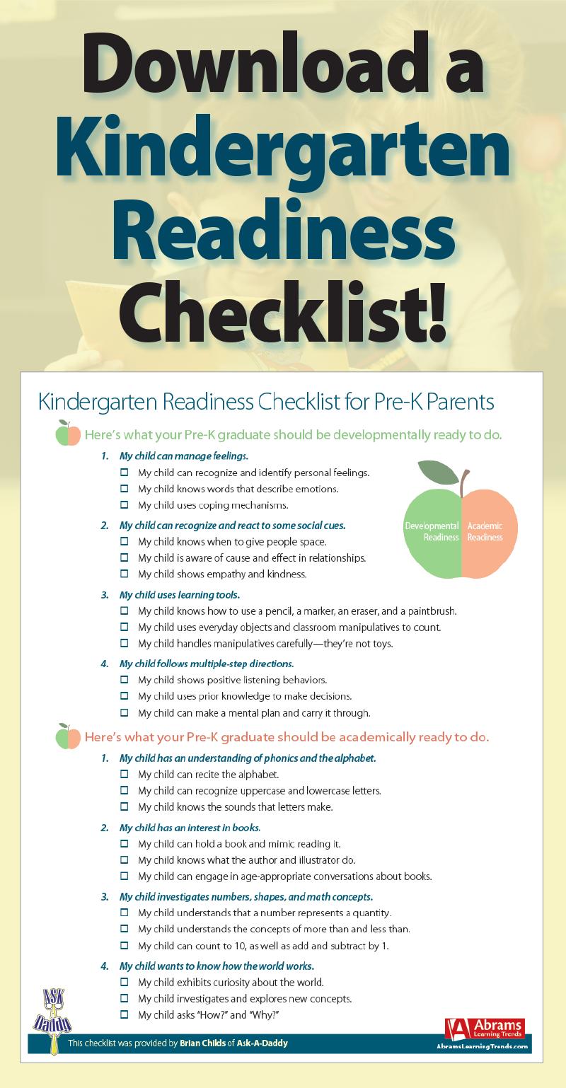 Free Printable Kindergarten Readiness Checklist Pdf