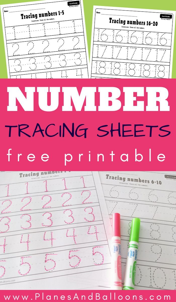 Free Printable Number Tracing Worksheets 1 20 Pdf