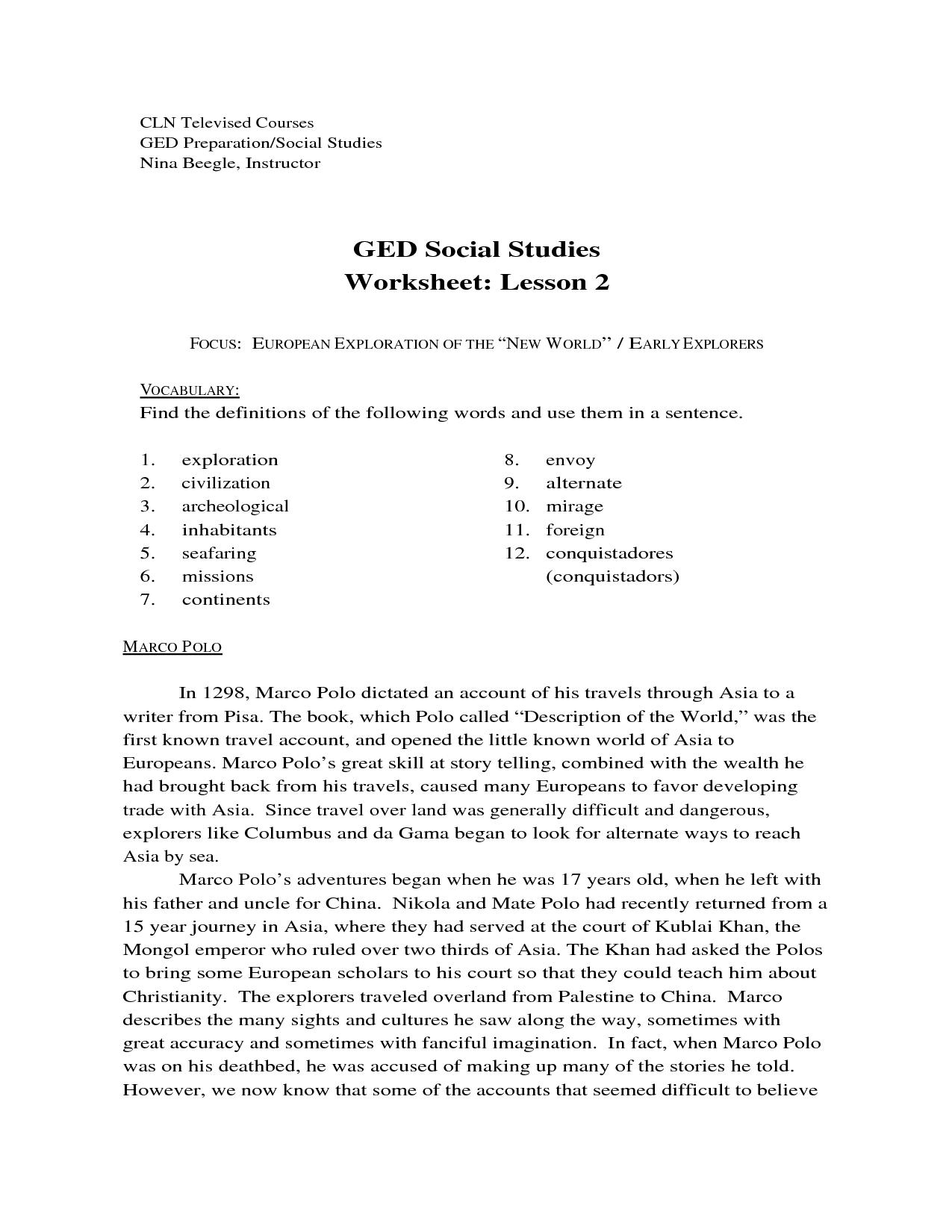 Free Printable Printable Ged Practice Worksheets Pdf