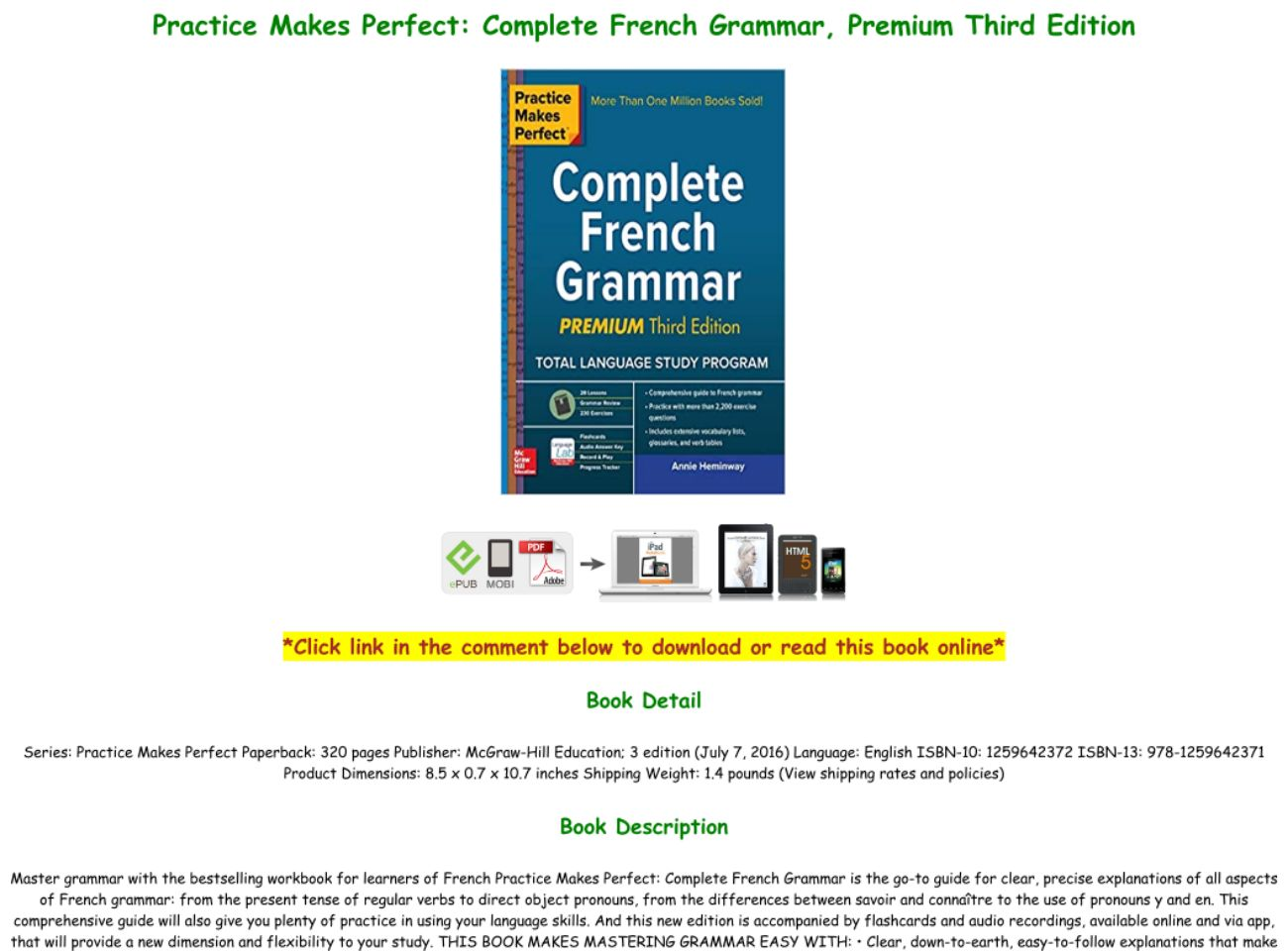 French Grammar Book Pdf