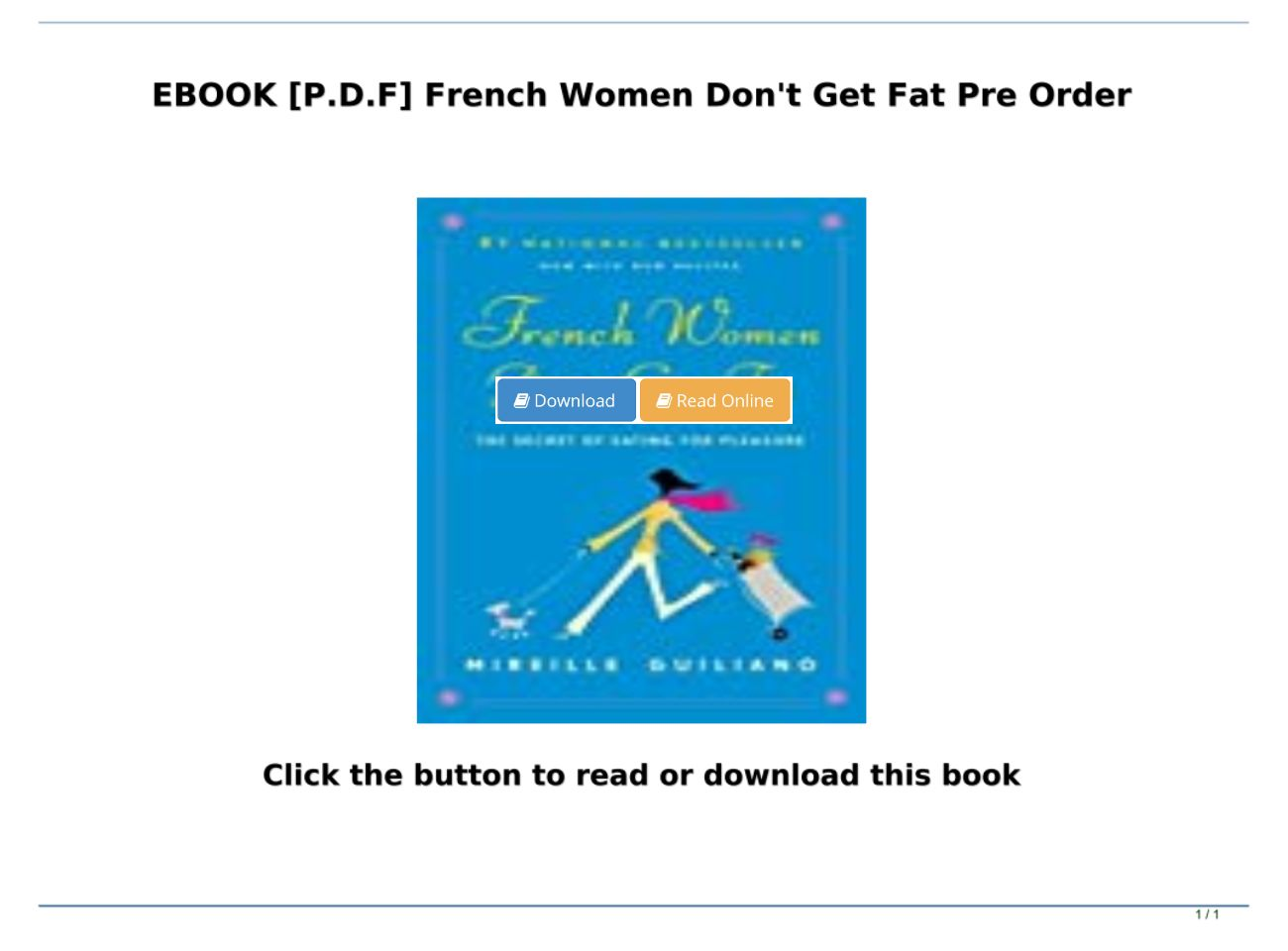 French Women Don T Get Fat Pdf