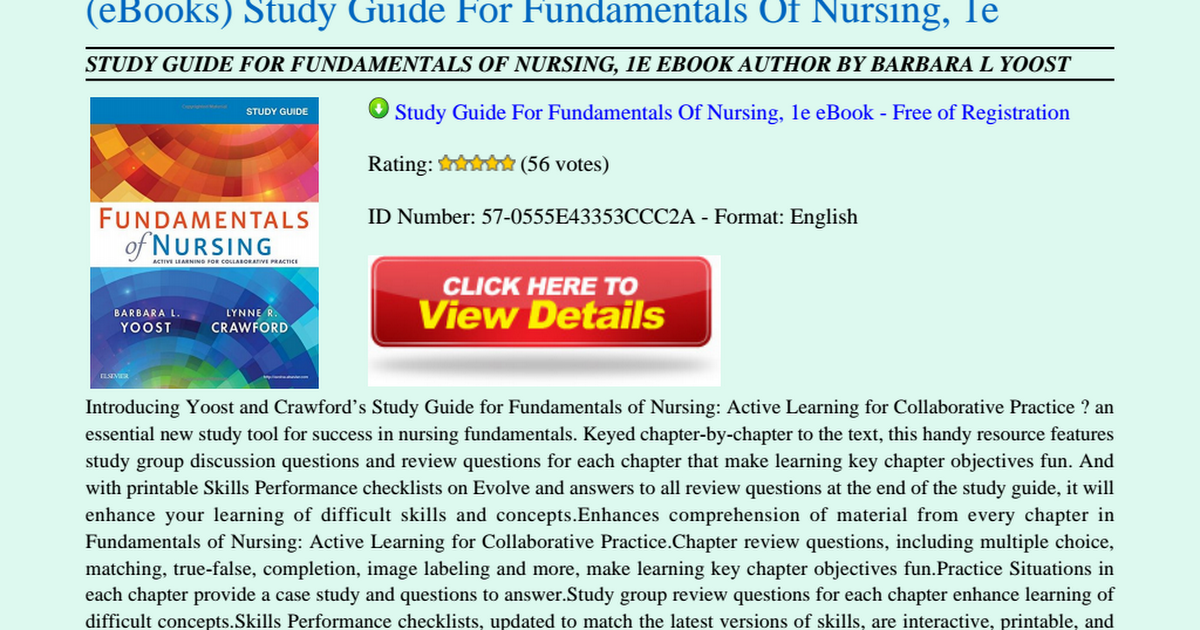 Fundamentals Of Nursing Study Guide Pdf