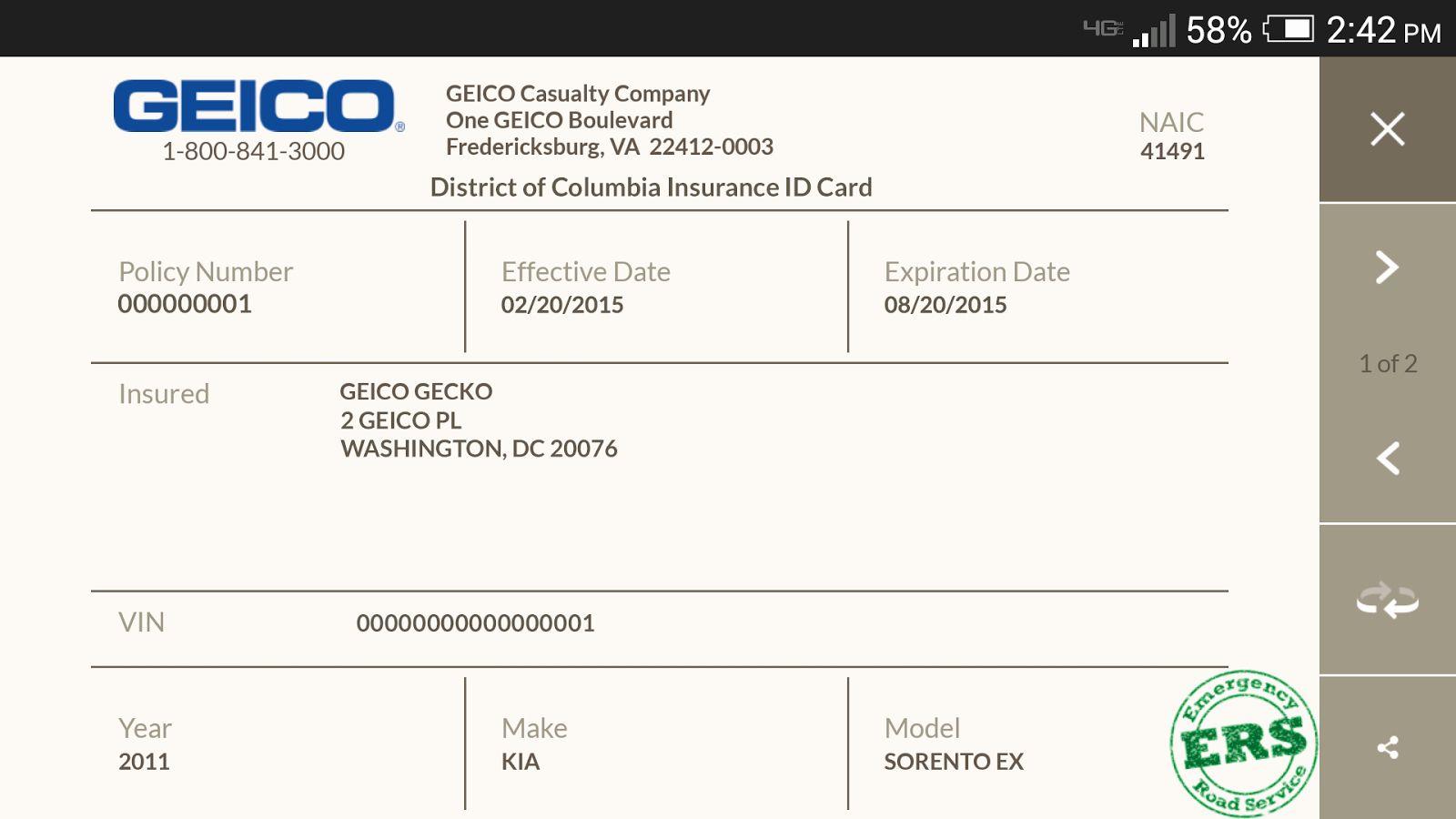 Geico Car Insurance Card Template Pdf