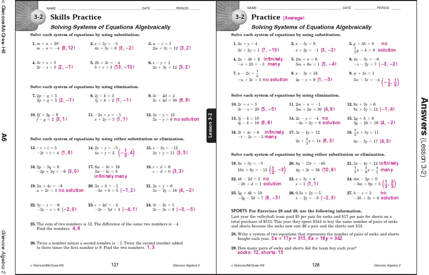 Glencoe Algebra 1 Workbook Answer Key Pdf