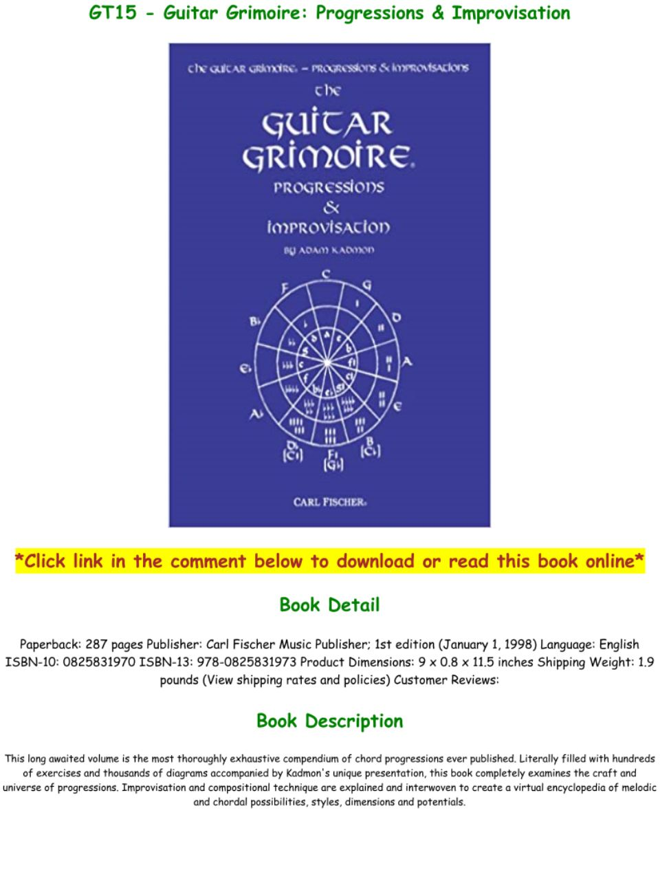 Guitar Grimoire Progressions & Improvisation Pdf