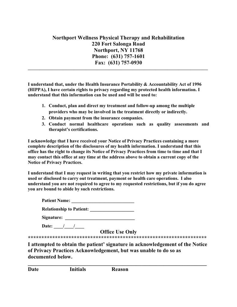 Hipaa Notice Of Privacy Practices Form Pdf Fresh Physical Form For Doctors Office Vatozozdevelopment