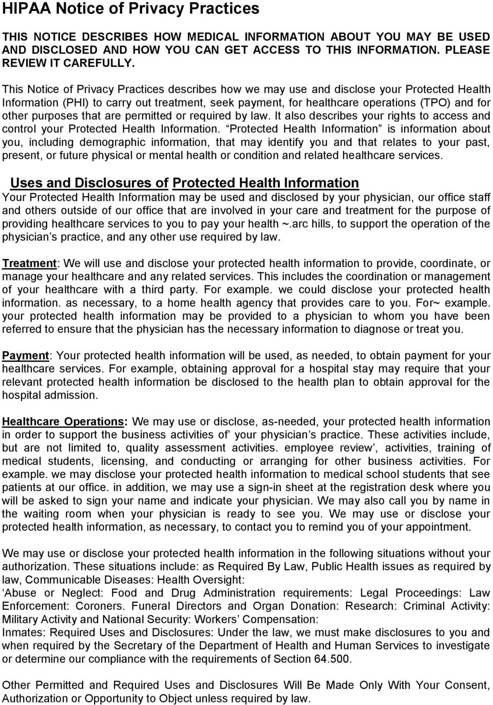 Hipaa Notice Of Privacy Practices Pdf 2021 Template
